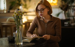 Picture flowers, glasses, cafe, book, vase, blouse, redhead, bokeh