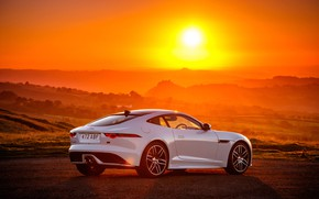 Picture sunset, Jaguar, 2018, F-Type, Chequered Flag