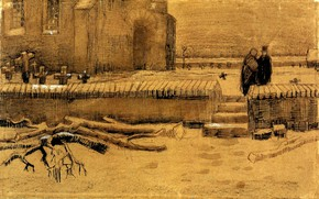 Picture crosses, Church, a man and a woman, Vincent van Gogh, Churchyard in Winter