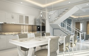 Picture design, house, table, furniture, chairs, interior, kitchen, dining room