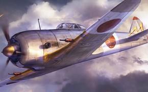 Picture art, airplane, Nakajima ki-44, aviation.
