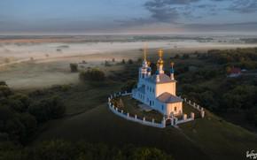 Picture landscape, nature, fog, field, temple, the village, Ilya Garbuzov, Yepifan', Tula