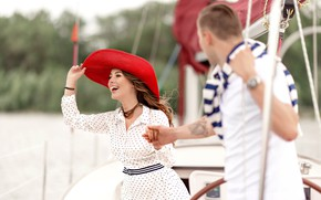 Picture girl, love, stay, pair, guy, walk on the yacht