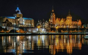 Picture night, lights, Poland, Szczecin