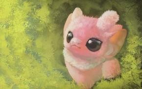 Picture grass, pink, fantasy, animal, by Qostine