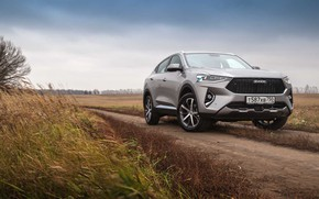 Picture road, field, car, machine, the sky, car, front, crossover, Chinese car, gray car, Haval, Haval …