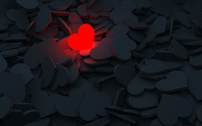 Picture love, red, grey, heart, hearts, glows, 3D graphics