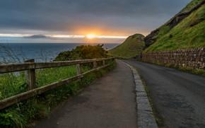 Picture road, sea, sunset, shore