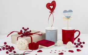Picture gifts, hearts, wood, hearts, presents