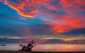 Picture sand, sea, wave, beach, summer, the sky, sunset, boat, summer, beach, sky, sea, sunset, pink, …