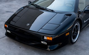Picture Black, Sports car, The front, Super Veloce, 1998 Lamborghini Diablo SV