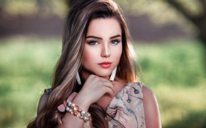 Picture look, nature, pose, background, model, portrait, makeup, dress, hairstyle, Silvia, brown hair, beauty, bokeh, John …