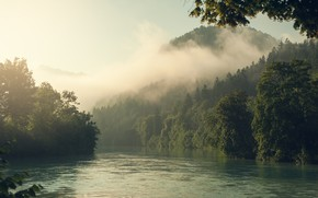 Picture forest, landscape, nature, fog, river, mountain, morning, Alps