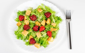 Picture leaves, berries, strawberry, plug, peach, salad