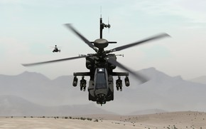 Picture sand, mountains, pair, flight, helicopter, shock, intelligence, OH-58 Kiowa, AH-64D Apache