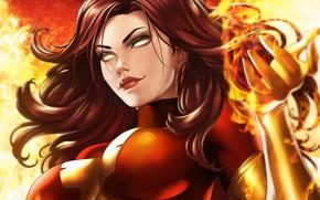 Picture girl, fire, fire, mutant, Marvel, Jean Grey, Jean Grey, mutant, by Dandonfuga, dark Phoenix, dark …