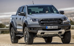 Picture grey, Ford, protection, front, Raptor, pickup, Ranger, on the road, 2019