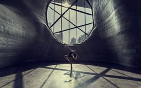 Picture girl, city, the city, dance, window, girl, dance, window, Prasad Ambati