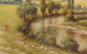 Picture Laszlo Neogrady, River landscape, Hungarian painter, Laszlo Nogradi, Hungarian painter, Riverscape