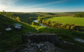 Picture landscape, nature, river, stones, hills, morning, meadows, Rev Alex, Sturgeon