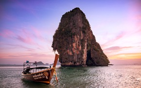 Picture sea, the sky, sunset, rock, boat, Thailand, Railay