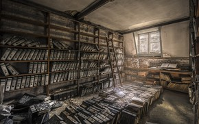 Picture window, ladder, library, paper, shelves, archive