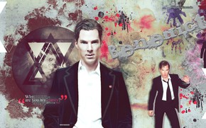 Picture abstraction, collage, male, hairstyle, Benedict Cumberbatch, Benedict Cumberbatch, British actor, black suit, by happinessismusic
