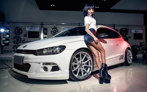 Picture look, Girls, Volkswagen, Asian, beautiful girl, white car, leaning on the car