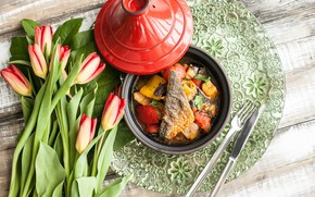 Picture food, fish, tulips, tomatoes, wood, stew