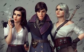 Picture game, gun, girls, trio