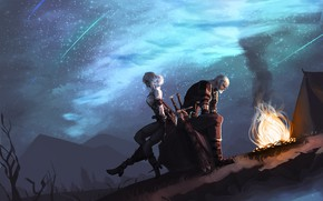 Picture Girl, Night, Stars, The game, Warrior, Fantasy, Art, Art, The Witcher, Fiction, Geralt, Witcher, Geralt …