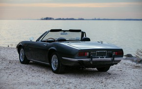 Picture black, Maserati, 1969, back, Roadster, pond, spider, Ghibli Spider