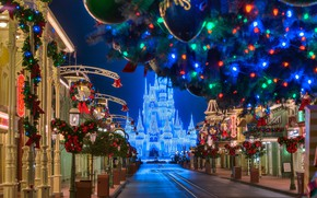 Picture road, decoration, night, the city, castle, holiday, building, home, FL, lighting, Christmas, lights, USA, Orlando, …