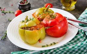 Picture food, plate, spices, stuffed pepper