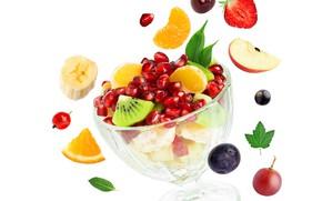 Picture Apple, orange, kiwi, strawberry, fruit, banana, garnet