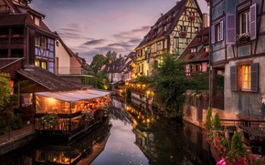 Picture the sky, France, home, the evening, channel, cafe, Alsace, Colmar, Colmar, little Venice