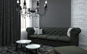 Picture sofa, carpet, pillow, chandelier, living room