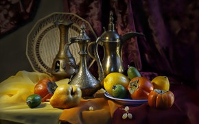 Picture fruit, still life, pear, lemons, fabric, dish, persimmon, curtain, pitchers, feijoa