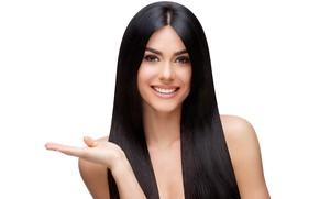 Picture girl, smile, portrait, makeup, brunette, gesture, model