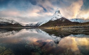Picture winter, clouds, snow, mountains, reflection, tops, Iceland, pond