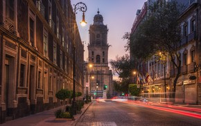 Picture night, street, building, Mexico, Mexico city