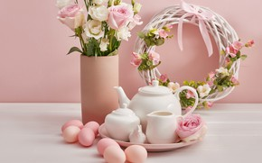 Picture flowers, holiday, eggs, spring, Easter, wreath
