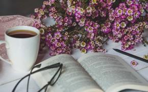 Picture flowers, tea, bouquet, Cup, book, reading