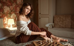 Picture look, girl, pose, chess, jacket, shoulders, pants, Albert Forest, Виктория Макаренко