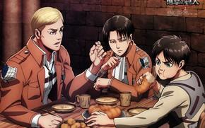 Picture food, Table, art, bread, Shingeki no Kyojin, Eren, Attack of the titans, Levi, Erwin