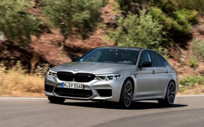 Picture road, greens, stones, grey, BMW, slope, sedan, 4x4, 2018, four-door, M5, V8, F90, M5 Competition