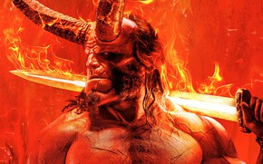 Picture red, background, fiction, fire, sword, horns, poster, Hellboy, Hellboy: the revival of the bloody Queen