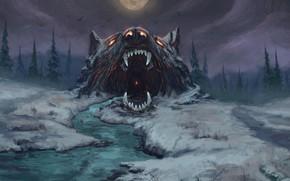 Picture Winter, Figure, Waiting, Mouth, Wolf, Fantasy, Mythology, Art, Fenrir, Fiction, Wolf, Illustration, Fenrir, Norse Mythology, …