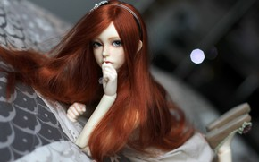 Picture hair, doll, red