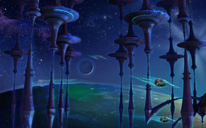 Picture space, Look out Jetsons, Animated space, A whimsical piece, fractal manipulation